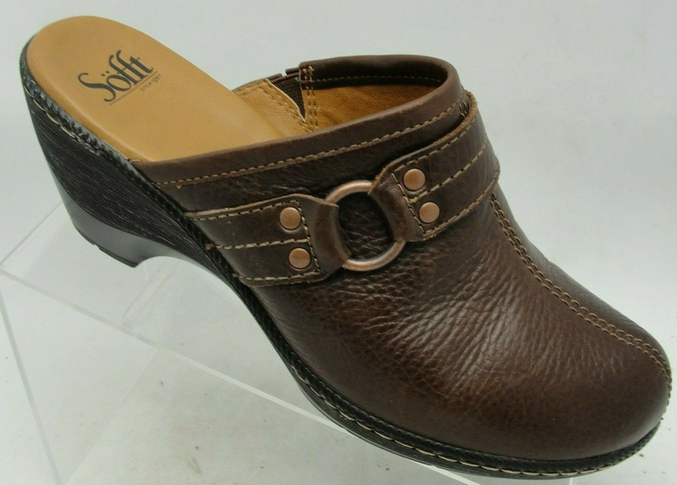 Sofft Size 10M Brown Leather Slip On Mules Clogs Comfort Heels Casual Shoes