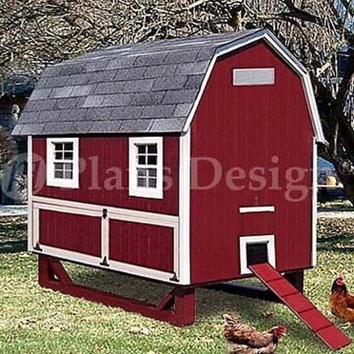 4'x6' Gambrel / Barn Chicken House / Coop Plans, Material List Included #90406B