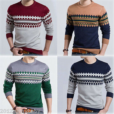 Fashion Men Korean Style Thin Slim Round Collar Tee Tops Hedging Sweaters 4Color