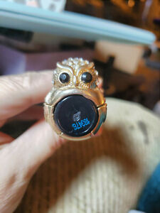 Stretch-Brand-Ring-One-Size-Most-Goldtone-Owl-with-Crystals-Adorable
