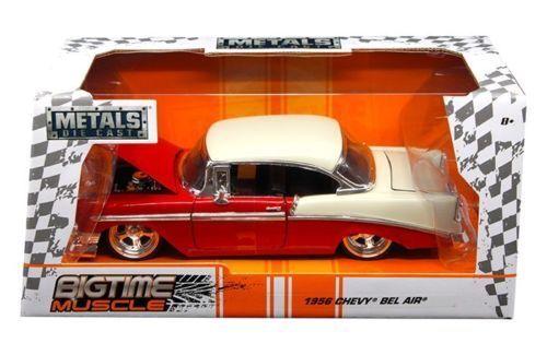 1956 CHEVROLET BEL AIR RED BIGTIME 1/24 SCALE DIECAST CAR MODEL BY JADA 98940