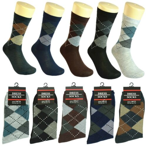 3-12 pairs Men Multi Color Patterned Cotton Fashion Casual Dress Socks 10-13
