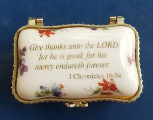 Imperial Porcelain Pill/Trinket Box Religious Psalm I Chronicles 16:34 Bible