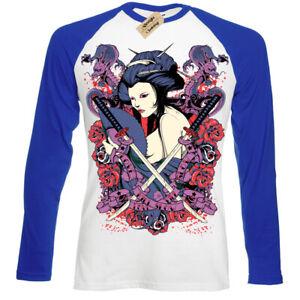 Samurai-diva-T-Shirt-japanese-geisha-oriental-Mens-Baseball