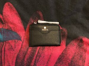 MIMCO-Supermicra-Card-Wallet-Black-Purse-Saffiano-Leather-Authentic-New-with-tag