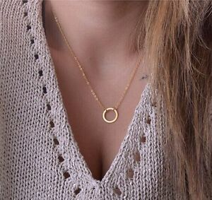Fashion women gold silver circle ring pendant short necklace chain image is loading fashion women gold silver circle ring pendant short mozeypictures Gallery