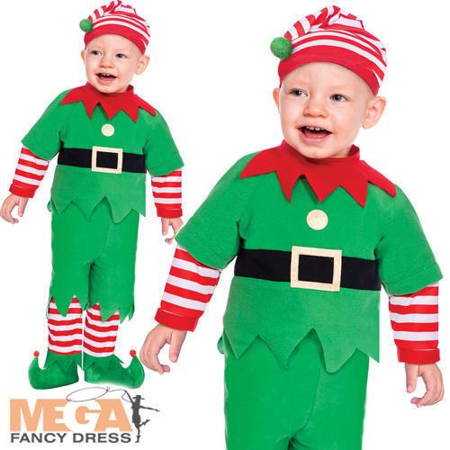 Elf Suit Kids Fancy Dress Santas Little Helper Boys Girls Baby Christmas Costume