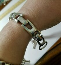 sterling silver biker Gothic men's bracelet 8.5