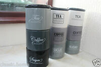 RETRO STACKING TEA COFFEE SUGAR JARS CERAMIC STACKABLE STORAGE CANISTERS NEW*