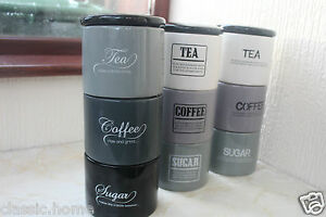 Retro Stacking Tea Coffee Sugar Jars Ceramic Stackable Storage Canisters New Ebay