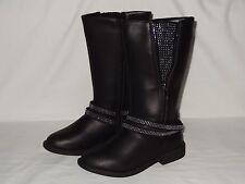 Children 143 Girl Olivia Boots Black Embellished Double Zipper Shoe Sz 13 New