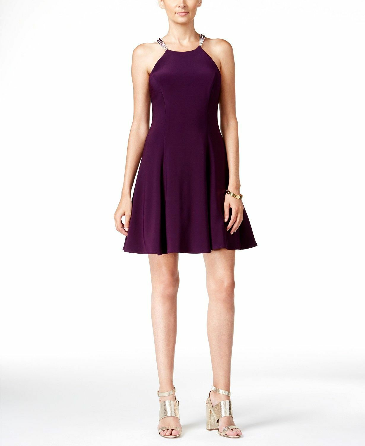 385 BETSY & ADAM WOMEN PURPLE EMBELLISHED FIT & FLARE HALTER GOWN DRESS SIZE 4