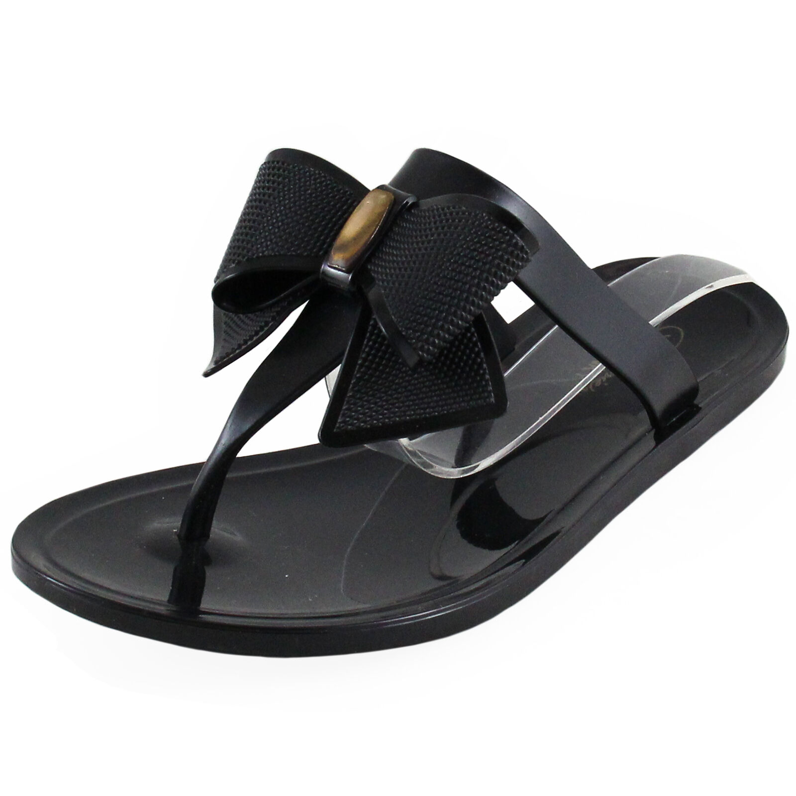 New women's shoes fashion jelly sandals black t strap casual summer black sandals solid bow a129cf