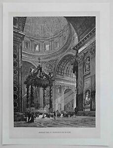 Rom-Roma-Vatikan-Petersdom-Dekorativer-Holzschnitt-Stich-1885