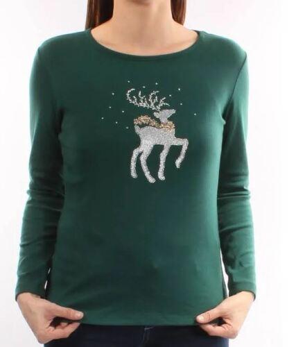 Karen Scott WOMEN/'S Green Deer Jewel Neck Long Sleeve Rhinestone TOP XL