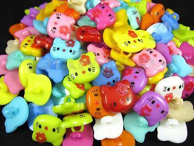 30pcs big cat head colorful plastic buttons lot 17x18mm KBP