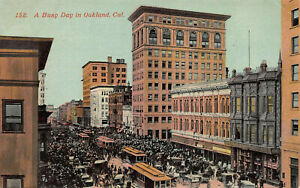 A-Busy-Day-in-Oakland-California-Street-Scene-Early-Postcard-Unused