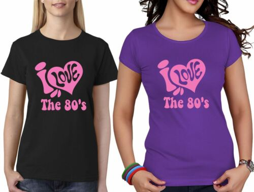 Da Donna Ragazze Manica Corta T-SHIRT I LOVE THE 80s retrò parti LOTTO 6021761 ®