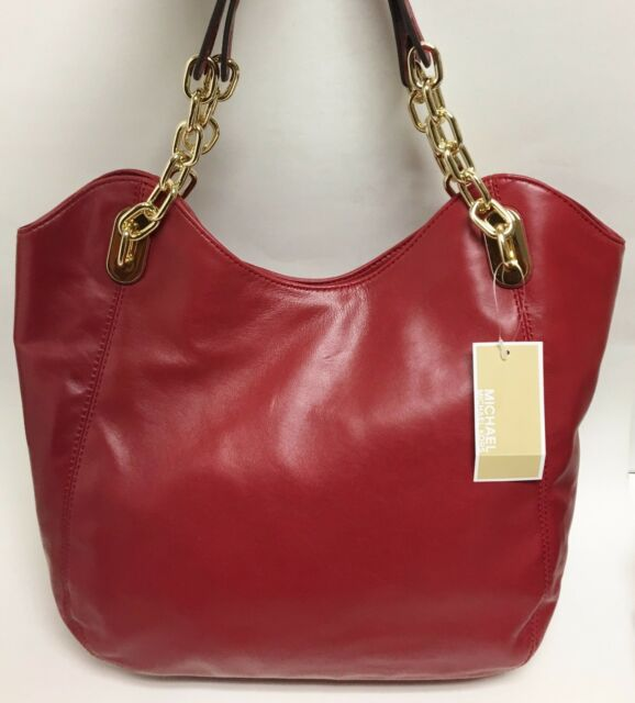 be5d805015bf Michael Kors Lilly Large Tote Leather Dark Red Shoulder Handbag Purse