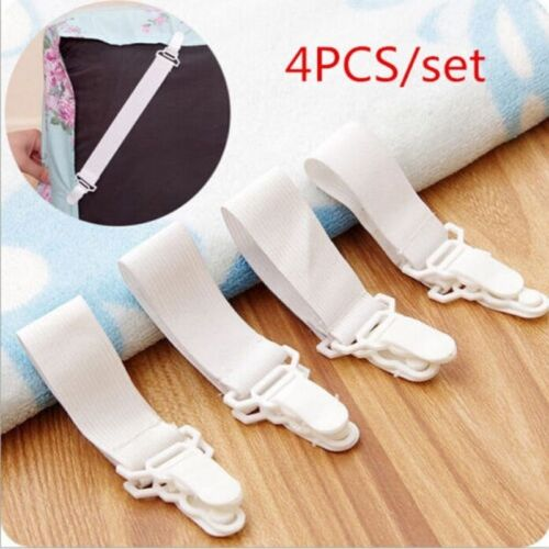4 Klettverschluss Tischdecke Bettlaken Clip Klammer Tischklammern Weiß