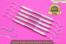 5 Explorer Probe Dental Scaler German Double Ended Pick Oral Instrument 5pcs