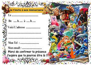 Détails Sur 5 Cartes Invitation Anniversaire Super Smash Bros Ultimate N 34 Jeu Vidéo