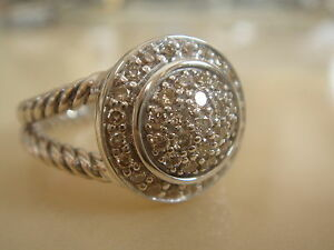 $1300 David Yurman Petite Albion Sterling Pave Diamond Ring-afficher Le Titre D'origine