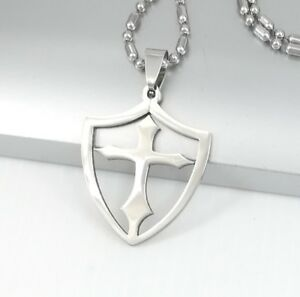 Mens Women Stainless Steel WOW Alliance Necklace Sword Shield Square Rolo Chain