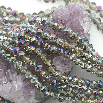 95 pcs 6mm Chinese Crystal Glass Loose Beads Faceted Light Smoky with Purple AB