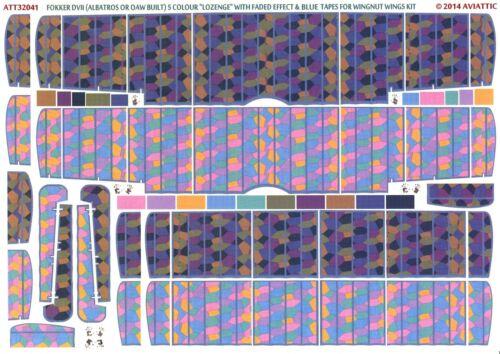 Aviattic Decals 1//32 OAW FOKKER D-VII 5-COLOR LOZENGE w//BLUE TAPES FADED EFFECT