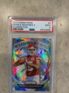 2017-Patrick-Mahomes-Rookie-PSA-9-MINT-Panini-Prizm-Illumination-Chiefs-RC-Card