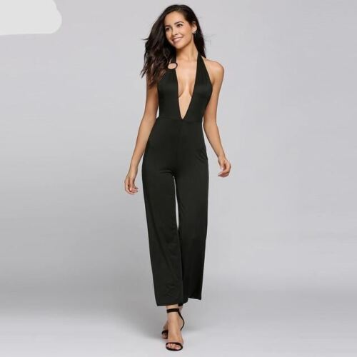 Solid Halter Backless Sleeveless Plunge V Neck Empire Rompers Womens Jumpsuit