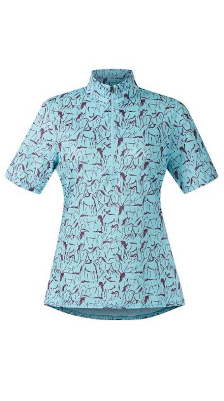 Kerrits Ice Fil Shortsleeve Print Shirt-RobinEgg Horse-S