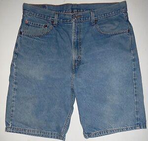 cb4807e8 Mens 36 Levis 505 Regular Fit Blue Jean Denim Shorts Coin Pocket Red ...