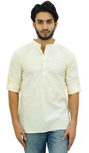 Atasi-Men-039-s-Ethnic-Short-Kurta-Cream-Mandarin-Collar-Cotton-Shirt