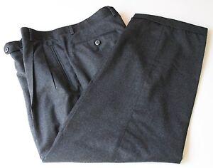 Zanella Duncan Charcoal Gray Flannel Wool Pants 100 Wool