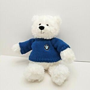 Gund-BMW-Signature-Teddy-Bear-16-White-Plush-046786-Blue-Sweater-BMW-Patch-CUTE
