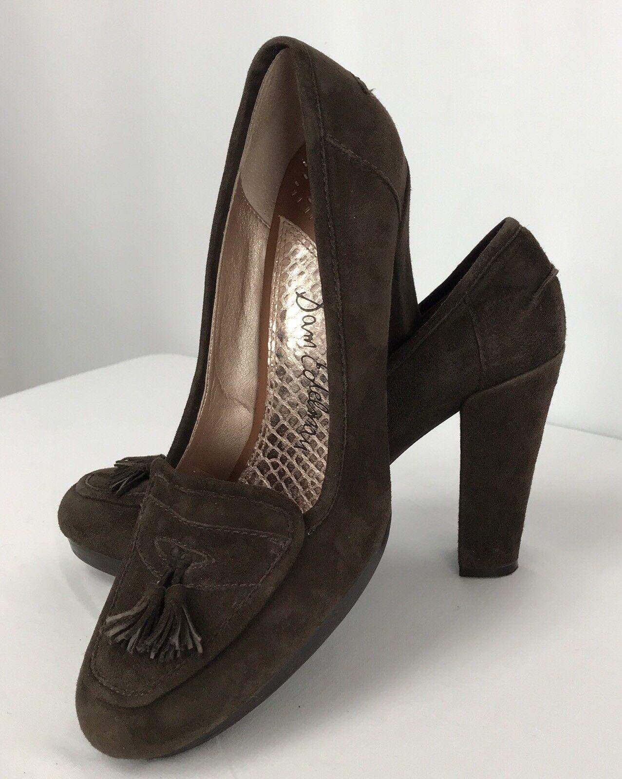 Sam Edelman Women's Size 9.5 M Brown Suede Print Heels Round Toe shoes Tassels