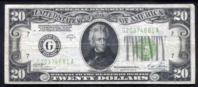"""FR. 2052-G 1928-B $20 FRN FEDERAL RESERVE NOTE CHICAGO, IL """"GOLD ON DEMAND"""""""