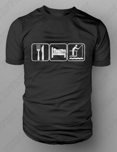 Eat Sleep Fishing T-Shirt Rod Angling Coarse Fly Pole Tackle Carp Tshirt M-XXL