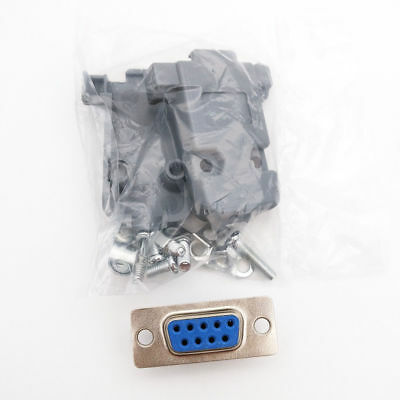 3 PCS DB9 9-Pin Female Solder Cup Connector Plastic Hood Shell /& Hardware DB-9**