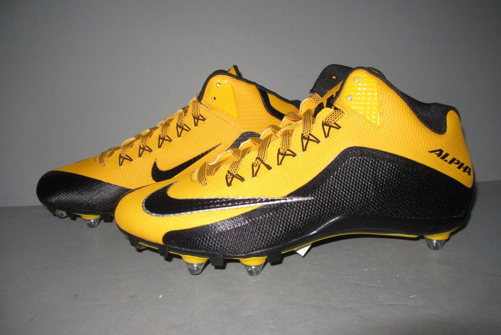Nike alpha (2 3 / / / 4 d uomini - football nero / oro staccabile scarpe taglia 14 c61427