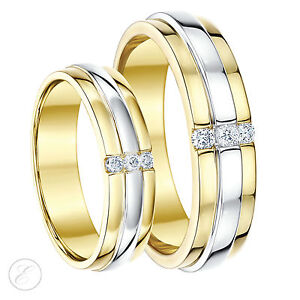 9ct Two Colour Diamond Wedding Rings Yellow White Gold His Hers