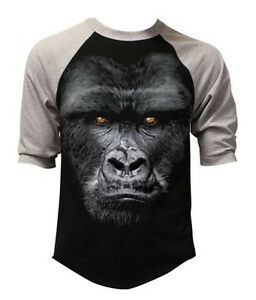 5f089ea0a3 Men's Gorilla Baseball Raglan Black Gray T Shirt Muscle Beast Biker ...