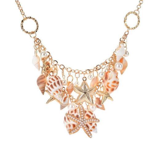Fashion femmes plage shell perle étoile de mer Chunky Cluster Statement Chaîne Collier