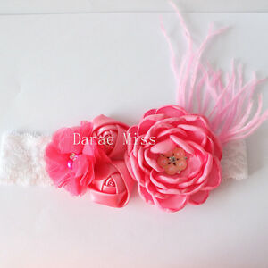 Satin-Chiffon-PINK-Flowers-Pearl-Centres-amp-Feather-HEADBAND-on-White-Lace