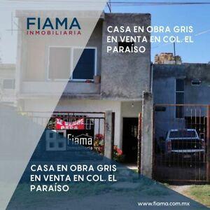 CASA EN OBRA GRIS EN VENTA EN COL EL PARAISO $1,100,000