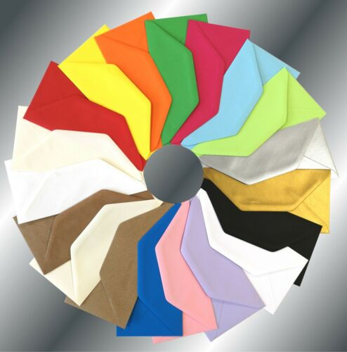 DL 110x220mm 100gsm Coloured Envelopes Crafts Greeting Cards /& Party Invitations
