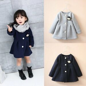 ca5bdbf019ad Winter Spring Baby Kids Girl Button Long Sleeve Hooded Coat ...