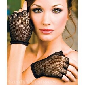 Fine-FISHNET-Fingerless-GLOVES-Short-WRIST-Lingerie-COSTUME-Burlesque-PUNK-Black